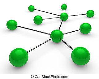 3d green chrome network