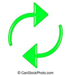 3D Green Circular Arrows