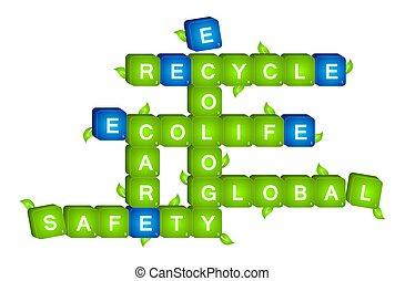 3D green ecology scrabble
