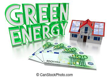 3D green energy concept, house, Euro