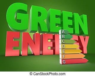 3d green energy sign
