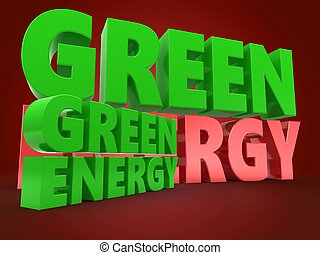 3d green energy sign with green sign