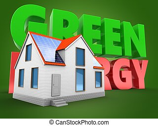 3d green energy sign with modern house