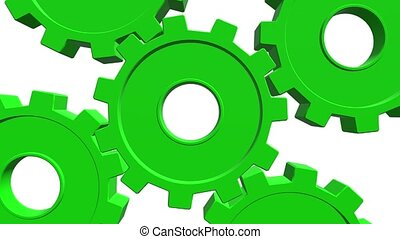 3D green gears rotate . White background. Alpha channel. Close up