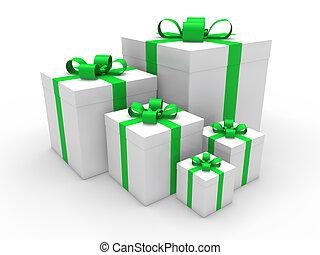 3d green gift box christmas