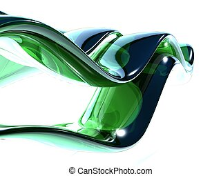 3d green glass waves