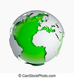 3d Green globe of the Earth