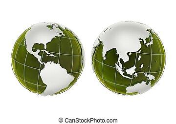 3D Green Globes Illustration