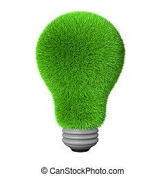 3d green grass idea bulb