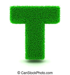 3D Green Grass Letter on White Background