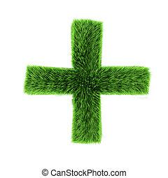 3d Green grass plus symbol