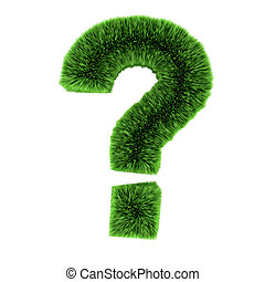 3d Green grass question mark symbol