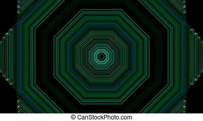 3d green hexagon,tunnel