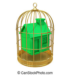 3d Green house in a golden cage - 3d render of a green house...