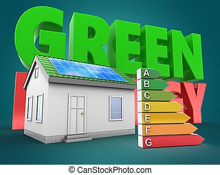 3d green house with green energy sign