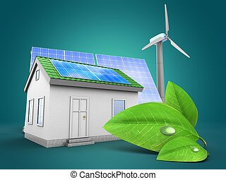 3d Green House With Solar And Wind Energy