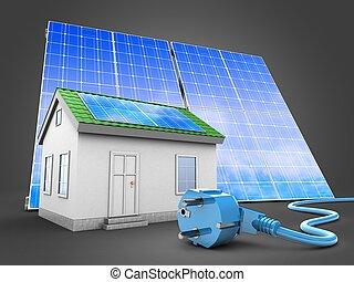 3d green house with solar panel - 3d illustration of green...