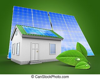 3d green house with solar panel