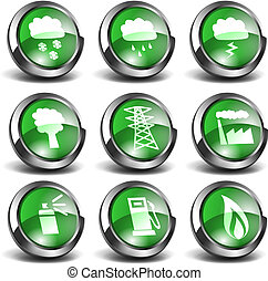 3d Green Icons Set 03 - Set of 3D enviromentally related...