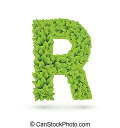 3d green leaves alphabet R