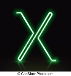 3d green neon light letter X