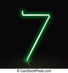 3d green neon light number 7 isolated on black background