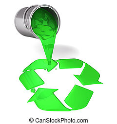 3d green paint pour a recycle symbo - 3d render illustration...