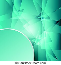 3d green paper circle label in the corner on green glass mosaic abstract design background concept