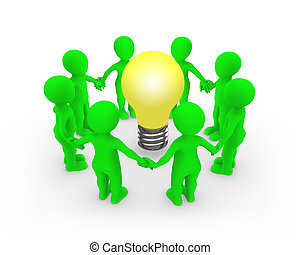 3d green people keep their hands around the bulb.