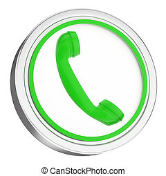 3D green phone icon button