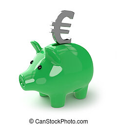 3d Green piggy bank with Euro symbol