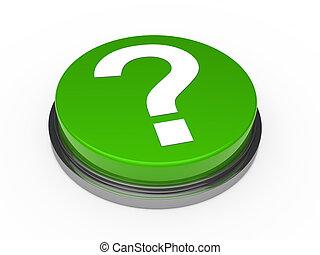 3d green questionm mark button