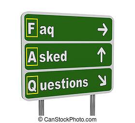 3d green road sign of faq