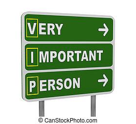 3d green road sign of vip