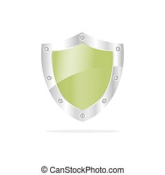 3D Green security shield on a white background