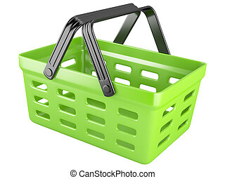 3d green shopping basket isolated on a white background