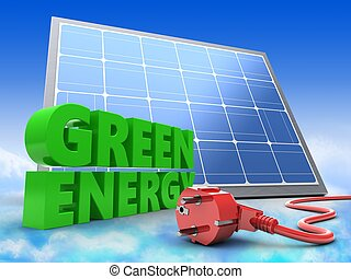 3d green sign with solar panel