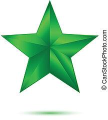 3D Green star on white
