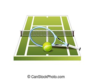 3d green tennis court with net, racket and ball icon isolated on white background, vector