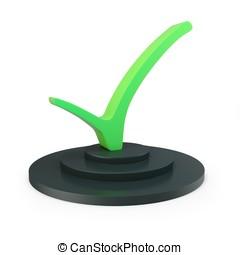 3d green tick ok sign with pedestal