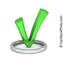 3d green tick sign