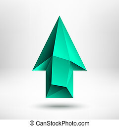 3d Green Up Arrow Sign with Light Background