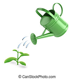 3d Green watering can and seedling - 3d render of a seedling...