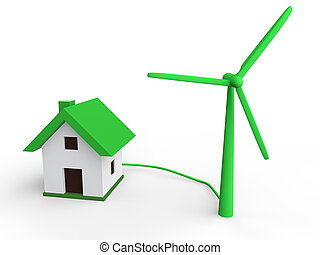 3d green wind turbine and house