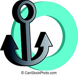 3D grey anchor with blue ring on white background