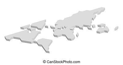 3D grey map of World