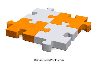 3d grey puzzle with orange diagonal, perspective - 3d grey...