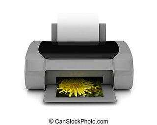 3d, grijze , printer, op, witte