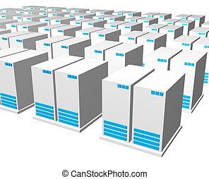 3d, gris, azul, servidor