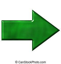 3d, groene, richtingwijzer